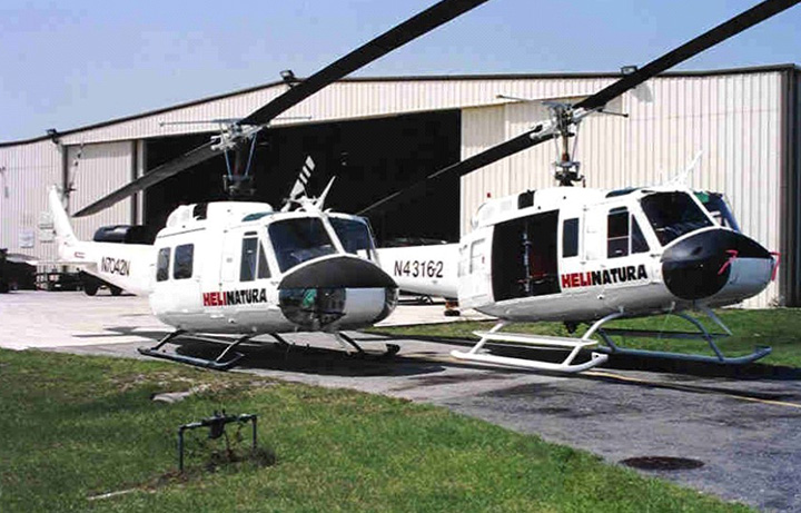 Two white helicopters